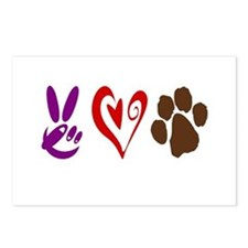 Peace, Love, Pets Symbols Postcards (Package of 8)