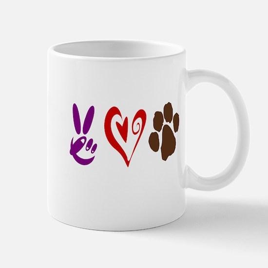 Peace, Love, Pets Symbols Mug