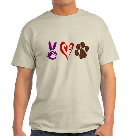 Peace, Love, Pets Symbols Light T-Shirt