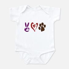 Peace, Love, Pets Symbols Infant Bodysuit