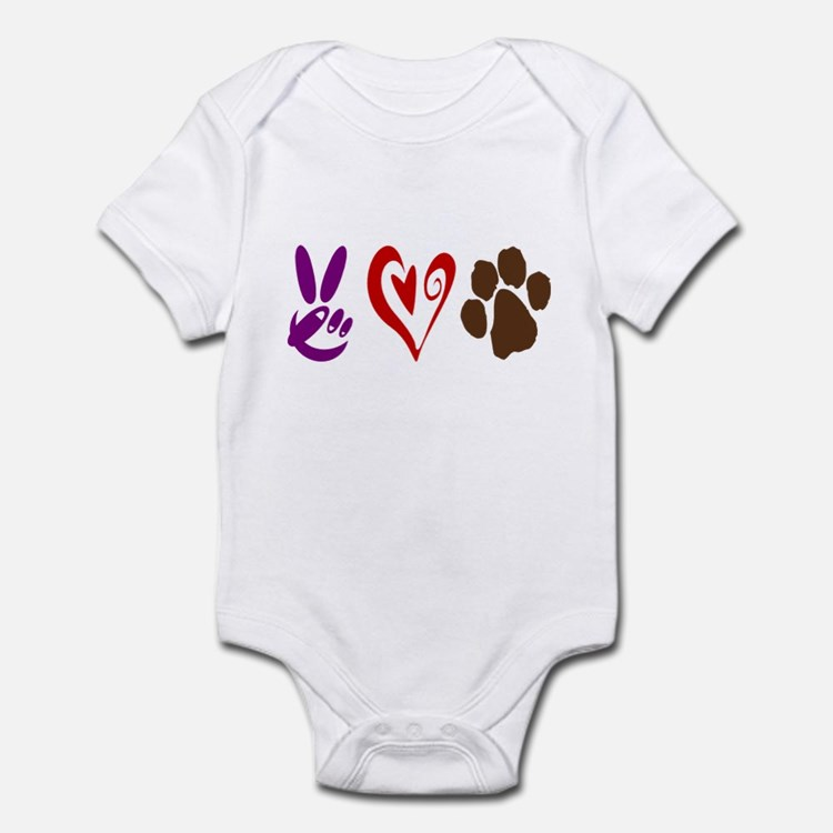 Peace, Love, Pets Symbols Infant Bodysuit