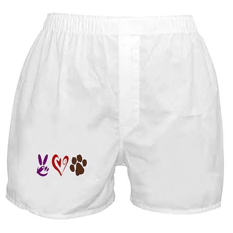 Peace, Love, Pets Symbols Boxer Shorts