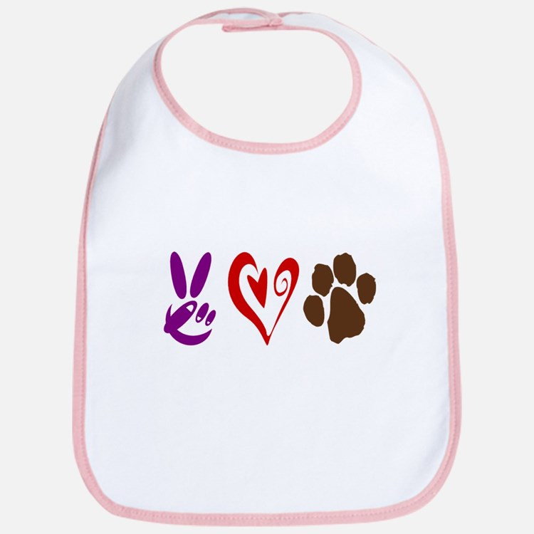 Peace, Love, Pets Symbols Bib