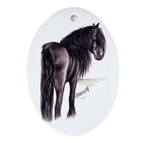 Friesian Mare Oval Ornament