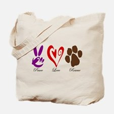 Peace, Love, Rescue Tote Bag