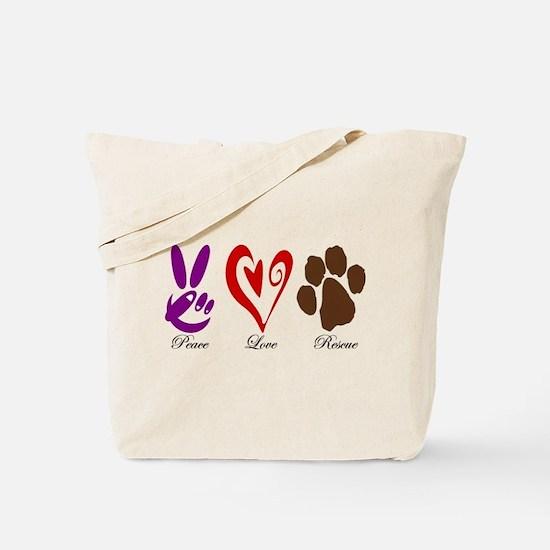 Peace, Love, Rescue Tote Bag