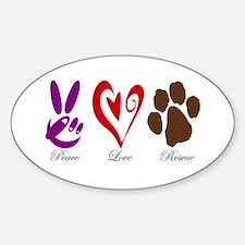 Peace, Love, Rescue Sticker (Oval)