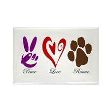 Peace, Love, Rescue Rectangle Magnet