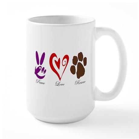 Peace, Love, Rescue Large Mug