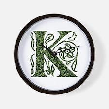 Ivy Leaf Monogram K Wall Clock