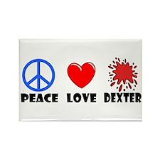 Peace Love Dexter Rectangle Magnet (10 pack)