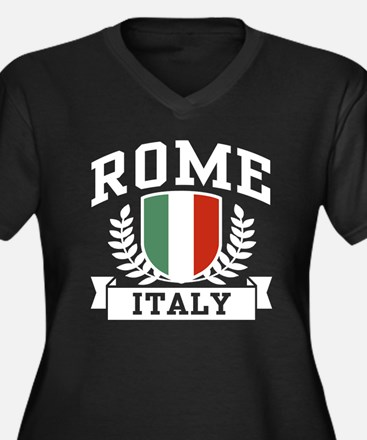 Rome Italy Women's Plus Size V-Neck Dark T-Shirt