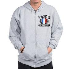 Paris France Zip Hoodie