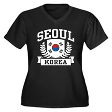 Seoul Korea Women's Plus Size V-Neck Dark T-Shirt