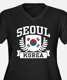 Seoul Korea Women's Plus Size V-Neck Dark T-Shirt
