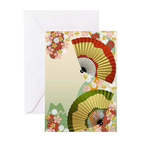 Japanese Fan green Greeting Card