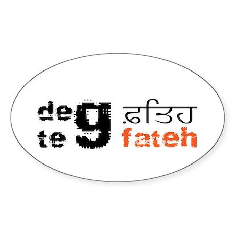 Deg Teg Fateh Oval Sticker