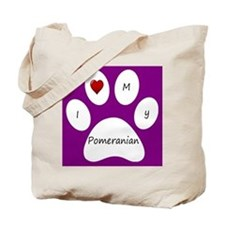 Purple I Love My Pomeranian Tote Bag