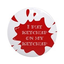 Cute Ketchup Ornament (Round)
