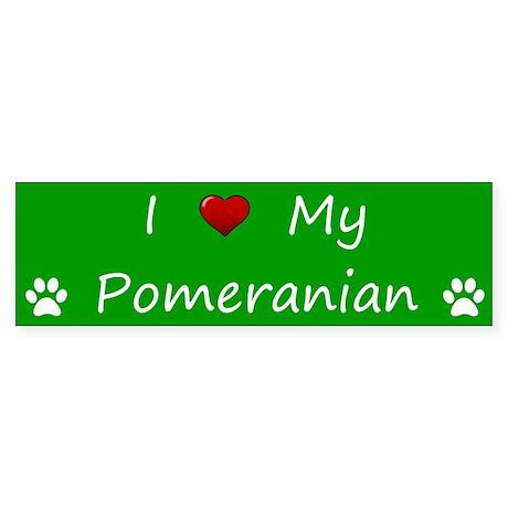 Green I Love My Pomeranian Bumper Sticker