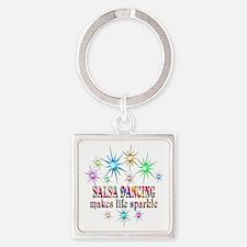 Salsa Dancing Sparkles Square Keychain