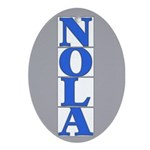 NOLA Blue Letter Tiles Oval Ornament