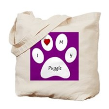Purple I Love My Puggle Tote Bag