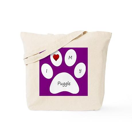 Purple I Love My Puggle Tote Bag