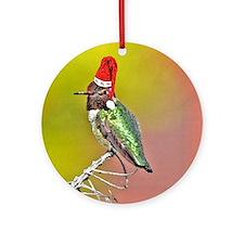 Ho Ho Ho Hummingbird III Ornament (Round)