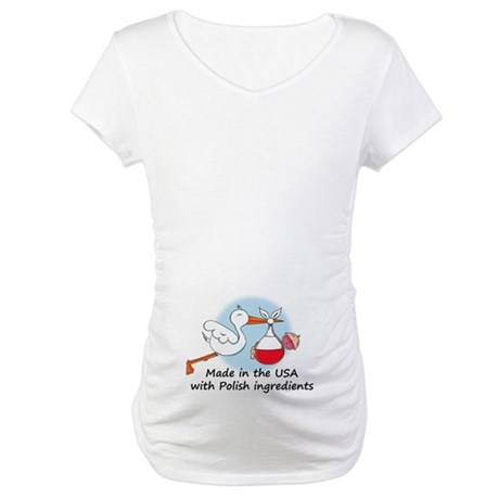 Stork Baby Poland USA Maternity T-Shirt