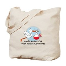 Stork Baby Poland USA Tote Bag