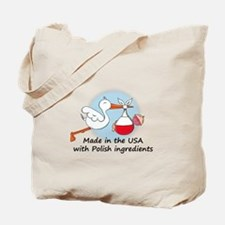 Stork Baby Poland USA Tote Bag