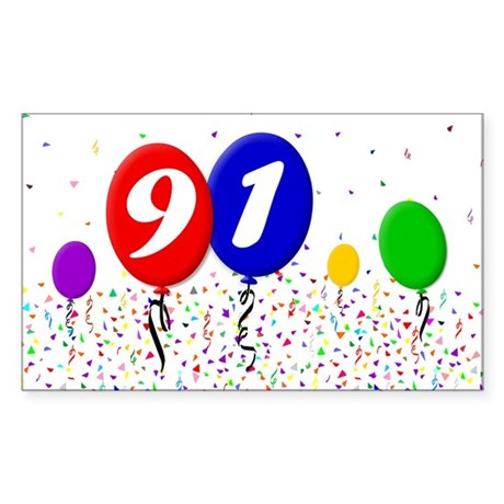 91st Birthday Rectangle Sticker