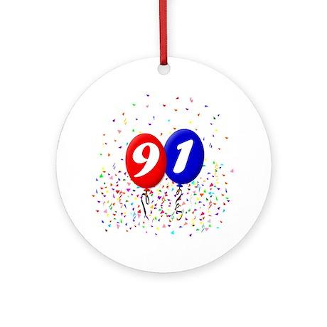 91st Birthday Ornament (Round)