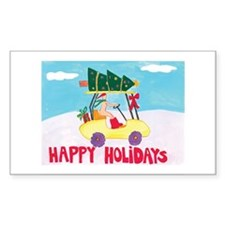 Naturist Happy Holiday Rectangle Stickers