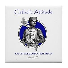Catholic Attitude Knight Tile Coaster