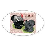 Cochin Rooster & Hen Oval Sticker