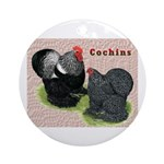 Cochin Rooster & Hen Ornament (Round)