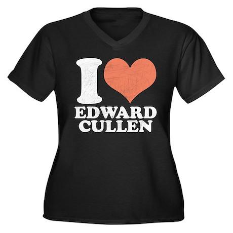 I Heart Edward Women's Plus Size V-Neck Dark T-Shi
