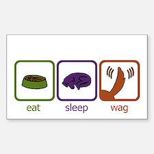 Eat Sleep Wag Rectangle Decal