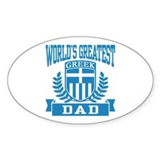 World's Greatest Greek Dad Oval Decal