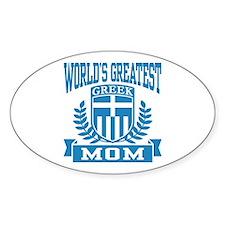 World's Greatest Greek Mom Oval Decal