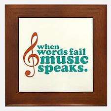 Teal Music Speaks Framed Tile