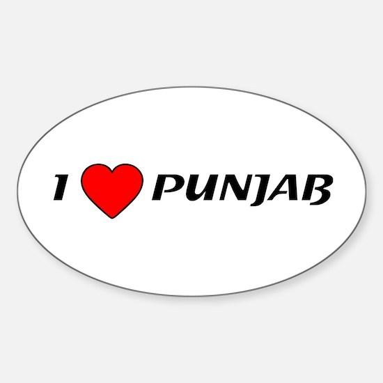 I Love Punjab Oval Decal