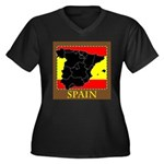 Spanish Map Women's Plus Size V-Neck Dark T-Shirt