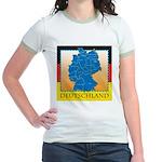 Deutschland German Map Jr. Ringer T-Shirt