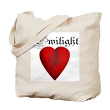 Twilight Scratched Heart Tote Bag