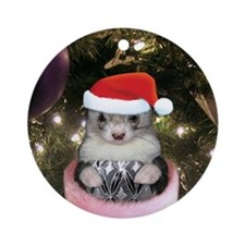 Ferret Santa Christmas Ornament (Round)