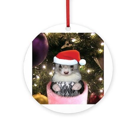 Ferret Santa Christmas Ornament (Round)