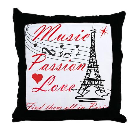 Paris-Music Throw Pillow